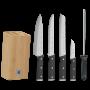 Juego Sequence de 4 cuchillos y afilador chaira con soporte