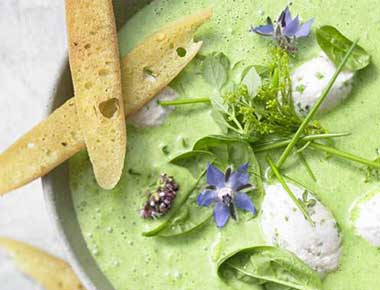 Herb Soup With Coconut Milk And Crostini