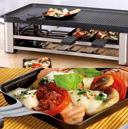 Raclette mit Lachs und Mozarella