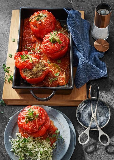 Braised pepper halves